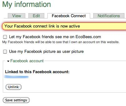 Facebook connect options in EcoBees screenshot