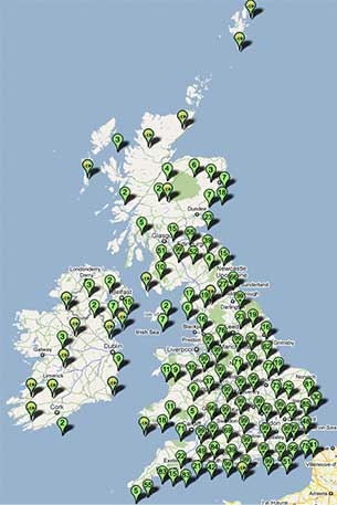 map showing EcoBee members in UK
